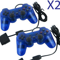 2X Blue Twin Shock Game Controller Joypad Pad for Sony PS2 Playstation 2