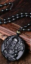 Ganesh Manta Natural Stone Black Obsidian Crystal Wealth Powerful Amulet Pendant