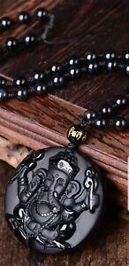 Ganesh Manta Natural Stone Black Obsidian Crystal Wealth Powerful Amulet Pendant