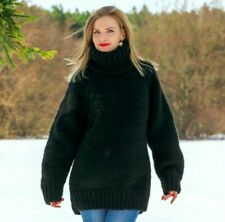 Black wool sweater thick pullover hand knitted warm soft jumper SUPERTANYA