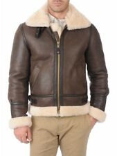 Men's B3 Bomber Aviator piolet  Brown Original Sheepskin shealing LeatherJacket