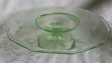 "Vntage Depression Ware Green 10,5"" Cake Stand Etched Floral Cut Pattern"