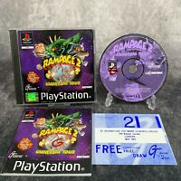 Rampage 2 Universal Tour PS1 PlayStation 1 PAL Game Complete Black Label Rare