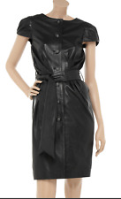 SARA BERMAN Black Leather Amy Winehouse Belted Button Front Dress EUC