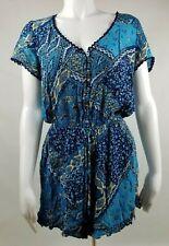 Hollister Womens Blue Romper Tie Waist Button Upper Size L