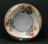 Vintage Peach Lusterware Bowl With Hand Painted Flowers Made In Japan 6-1/2""