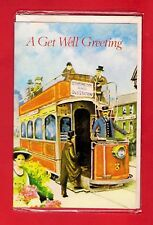 Vintage Tram Card ~ A Get Well Greeting - Old Station Tram with Flower Girl
