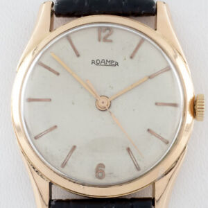18k Rose Gold Men's Roamer Automatic Watch w/ Leather Band