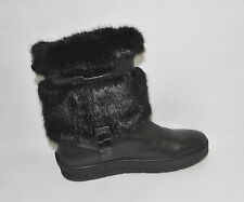New! Aquatalia by Marvin K 'Kamila ' Black Faux Fur and Leather Boots Size 11