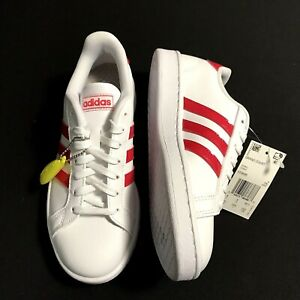 adidas Grand Court Lace Up Womens Sneakers Shoes Casual White Red Faux Leather