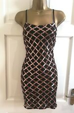 Womens Sparkly Black Rose Gold Sequin Cami Bodycon Party Evening Dress SZ 6 - 14