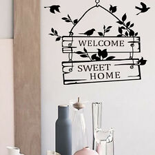 Welcome Sweet Home Birds Quote Wall vinyl Art Room Wall Stickers