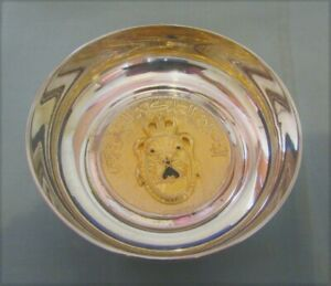 UNUSUAL SILVER PLATED & GUILT ARABIC & NAVAL CRESTED TRINKET DISH