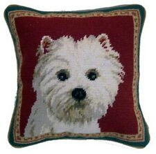 "Westie Dog Needlepoint Pillow 10""x10"" NWT"