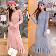 Korean Women Ruffle Fishtail Bodycon A-line Knit Sweater Sheath Evening Dress