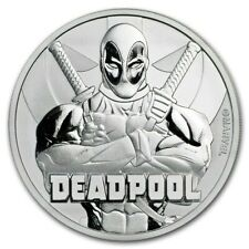2018 Tuvalu Marvel Series Deadpool BU 1 oz .9999 Fine Silver Coin w/ Capsule