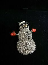 Signed Swarovski Brooch 2003 Snowman In Box 1513660