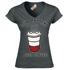 Low Battery Need Coffee T-Shirt caffeine lovers Womens Ladies V-Neck
