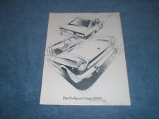 1969 Fiat 124 Sport Coupe Vintage Sketch Ad
