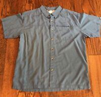 North Face Mens Camp Shirt Short Sleeve Button Zip Pocket Blue XL BOX i