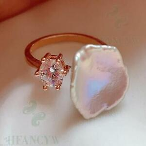 White Baroque Pearl Open Adjustable Rose Gold Zircon Ring Teardrop Natural