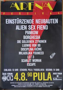 GERMAN MUSIC ARENA FESTIVAL POSTER 1990 - EINSTÜRZENDE NEUBATEN PANKOW * PUNK