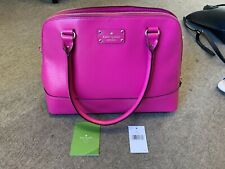 BNWT Kate Spade New York Bright Fuchsia Pink Leather Large Shoulder Or Grab Bag