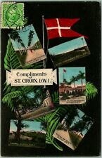 Postally-Used ST. CROIX D.W.I. Virgin Islands Postcard Multi-View w/ 1911 Cancel