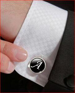 Men's Fashion A-Z Single Alphabet Cufflinks Silver Color Letter Cuff Button