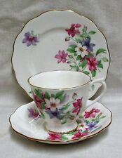 Royal Albert Bone China Flowers & Gold Gilt Tea Cup,Saucer & Side Plate Trio