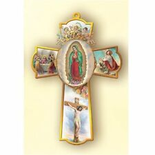 Wooden Our Lady of Guadalupe Wall Cross with Gold Toned Trim, 6 Inch