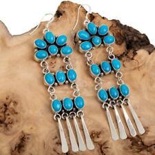 Navajo Earrings TURQUOISE Sterling Silver Long Chandelier Dangles Old Pueblo Stl