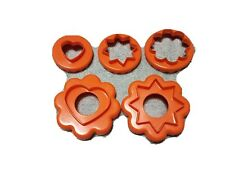 Vintage Orange Tupperware Set of 5 Nesting Cookie/Biscuit/Canape Cutters