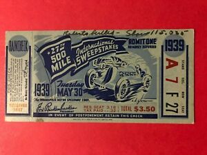 1939 INDIANAPOLIS 500 TICKET ORIGINAL *VERY RARE* WILBUR SHAW WINNER EX