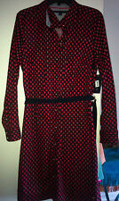 NWT Tommy Hilfiger Womens Shirt Dress L XL Cotton Shirtdress Red Navy Floral New