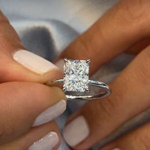 2.70 TCW DVVS1 Radiant Cut Moissanite Engagement Ring In 14K White Gold Plated