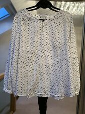 Women's Marks And Spencer White Apple Print Top Blouse Size UK20 SEE DESCRIPTION