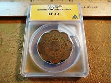Rare Great Britain Birmingham Concert Hall Scalloped 2 Pence Token EF 40 ANACS