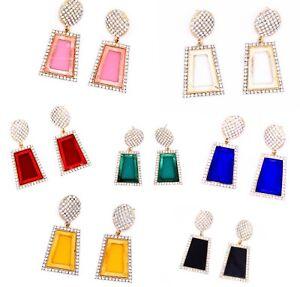 Drop Dangle Earrings Statement Gold Large Rectangle Ear Stud Colours Diamante CZ