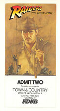 RAIDERS OF THE LOST ARK 1981 ORIGINAL SCREENING TICKET (537S)