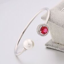 Garnet & Pearl Cuff Bangle 18K White Gold Filled White Sapphire Bracelet Jewelry