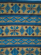 Navajo Indian Beaded Like Floral Yellow Gold Border Print Cotton Fabric BTHY