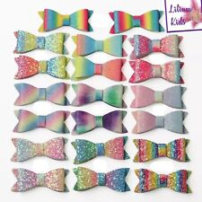 "Multi Coloured Glitter Hair Bows - Various Designs 2.8"" - with clips"