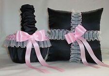Black Satin / Light Pink Lace Trim Flower Girl Basket & Ring Bearer Pillow #2