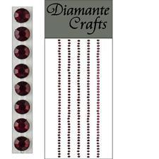 220 x 2mm Burgundy Diamante Self Adhesive Strips Rows Craft Gems