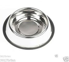 STAINLESS STEEL Non Skid Pet Dog Puppy Cat No Tip Bowl Dish (USA SELLER) SALE !!