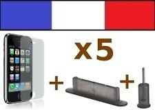 5 LOTS FUMÉS anti-poussière + 5 FILM DE PROTECTION D'ECRAN iphone bouchon 3G 3Gs
