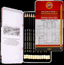 12 KOH I NOOR HARD PENCILS HB -10H GRAPHITE TECHNICAL DRAWING SKETCHING TIN SET