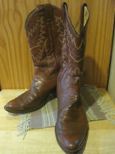 Justin Cowboy Boots Brown Leather Mens sz 8.5D Classic Equestrian Equine Western