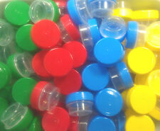 100 Jars 1/4oz 1tsp posh Plastic Container Red Blue Green Yellow Caps Geocache
